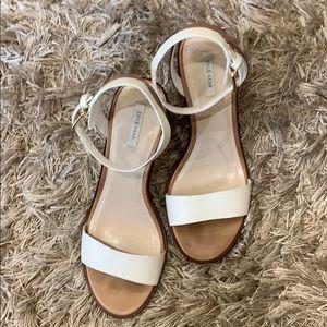 Cole Haan white/tan, snake print block heel sandal